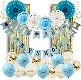 PartyPackz Baby Shower Decorations for Boy; Its a Boy Baby Shower Hollow Paper Fan Balloons Banner Gold Foil Fringe Curtai...