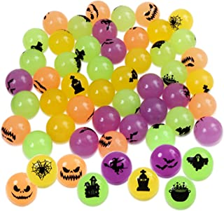 Aneco 45 Pack 1.25 Inches Halloween Glow in Dark Bouncing Balls Halloween Bouncy Toys Balls for Halloween Party Supplies, Assorted 9 Styles Halloween Theme Designs
