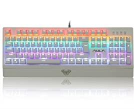 AULA Multicolor Backlit Mechanical Gaming Keyboard with Blue Switches, 104 Anti-ghosting Keys (White)
