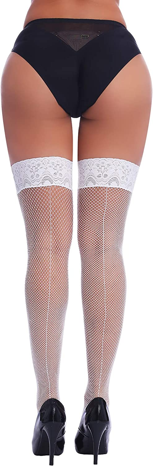Joyaria Womens Fishnet Thigh-High Stockings with Stay-Up Lace Top