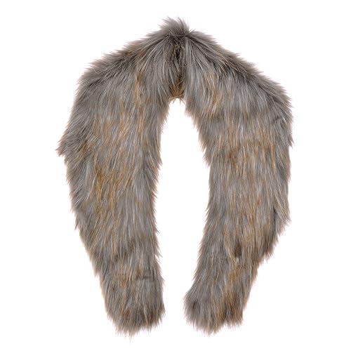 ZLYC Women Winter Fashion Dyed Faux Fur Collar Scarf Wrap Neck Shawl, Gray