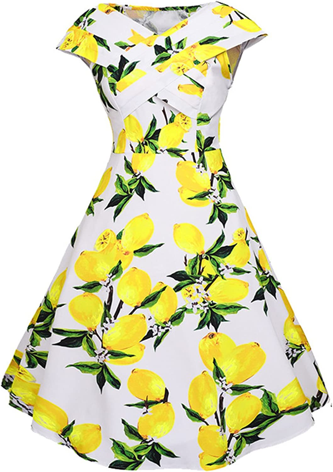 Ahlsen Women's 1950's Vintage Cap Sleeve Pleated Floral Easter Party Dresses