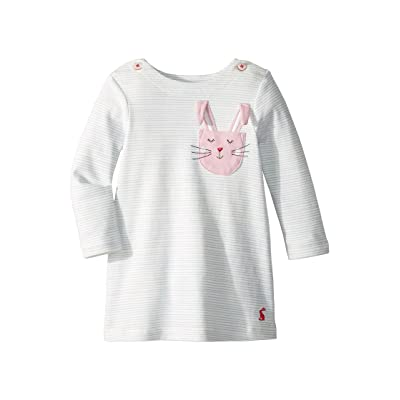 Joules Kids Applique Dress (Infant) (Sky Blue Stripe Bunny) Girl