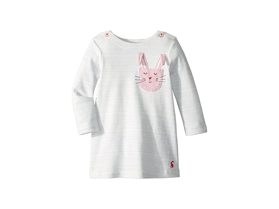 Joules Kids Applique Dress (Infant) (Sky Blue Stripe Bunny) Girl