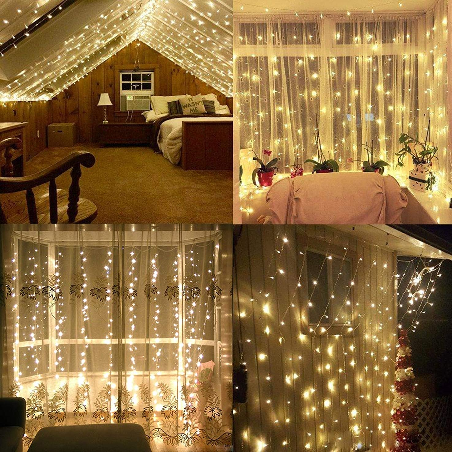 HuiZhen LED Window Curtain Lights,300Led 9.8ft9.8ft Connectable Curtain Icicle Fairy String Lights for Wedding Party Patio Lawn Garden Bedroom Outdoor Indoor Decoration (Warm White)