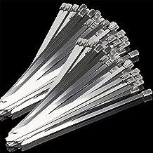 Kingrol 200pcs Stainless Steel Self-Locking Cable Zip Ties, 11.8 Inch