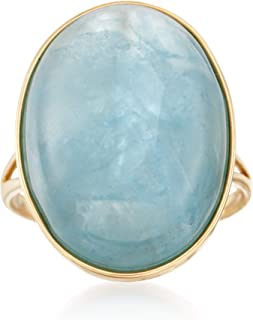 Ross-Simons 25.00 Carat Aquamarine Cabochon Ring in 14kt Yellow Gold For Women