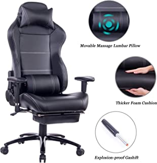Blue Whale Massage Gaming Chair with Footrest Matel Base-Memory Foam Adjustable Backrest Reclining PC Computer Video Gamer Chair Racing High Back Game Chairs PU Leather Desk Office Chair BW/263 Black