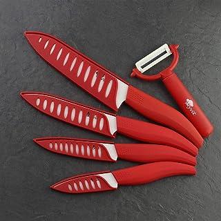 Couteau en céramique Couteaux de cuisine Ensemble 3 4 5 6 pouces + Éplucheur Zircon Zirconia Blanc Blade Chef de fruit Cou...