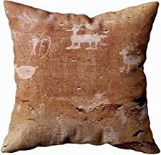 TOMKEY Hidden Zippered Pillowcase Hunter Petroglyph with Text Template 16X16Inch,Decorative Throw Custom Cotton Pillow Case Cushion Cover for Home Sofas,bedrooms,Offices,and More