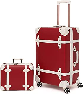 NZBZ Vintage Luggage Set of 2 Pieces with TSA Lock Cute Retro Trunk luggage (Cherry Red, 14inch & 28inch)