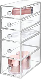 InterDesign Drawers Bathroom Storage Tower, Plastic Cosmetic Organiser Drawers with 5 Drawers, Clear