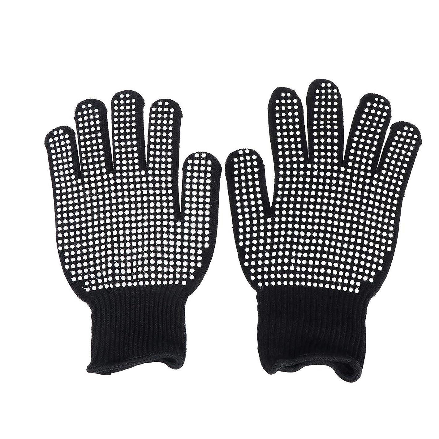 溶接コールド牽引Beaupretty 耐熱手袋ヘアスタイリング用オーブン手袋カール防止用ヒートブロック(ブラック)