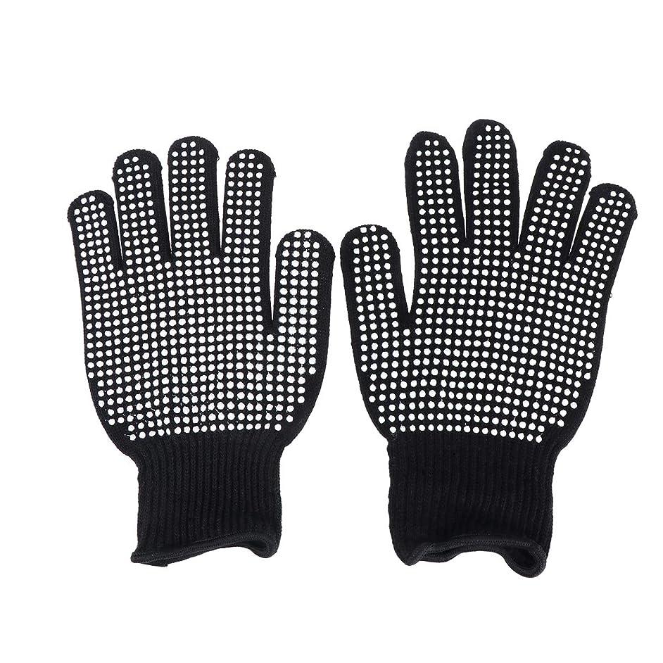経営者全部洗剤Beaupretty 耐熱手袋ヘアスタイリング用オーブン手袋カール防止用ヒートブロック(ブラック)