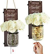 TJ.MOREE Rustic Wall Sconce – Mason Jar Wall Sconce, Rustic Home Decor with Pull..