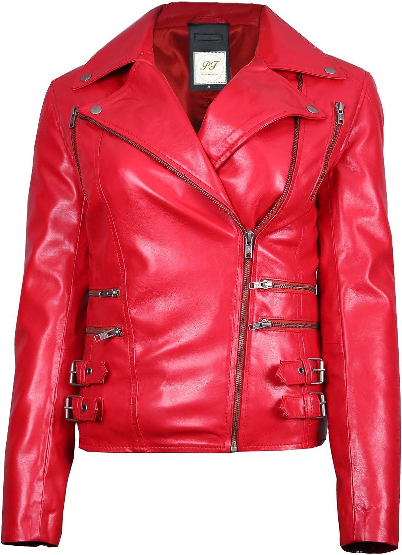 Pelletteria Factory Black Rose Womens Biker Faux Leather Jacket - Women's Biker Faux Leather Jacket