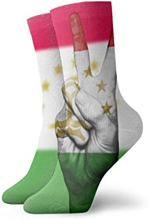 WEEDKEYCAT Tajikistan Peace Hand Flag Adult Short Socks Cotton Sports Socks for Mens Womens Yoga Hiking Cycling Running Soccer Sports