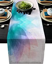 Table Runner Modern Abstract Leaves Overlap - Durable Washable Cotton Linen Table Top Cover Placemats for Kitchen Dinning Tea Table Use 16