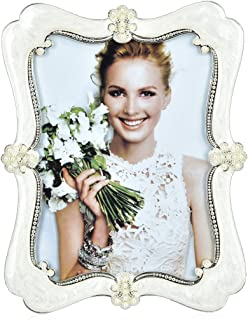 Wedding Photo Frame Silver Plated Picture Frame - EPOXY Zinc Alloy Arc Pearl 4x6 Inch Metal Marriage Picture Frame - Inlay Rhinestones Photo Frames Blocks for Family Love Baby