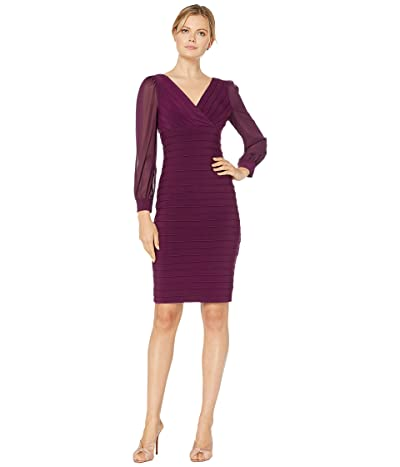 Adrianna Papell Jersey and Chiffon Banded Dress (Shiraz) Women