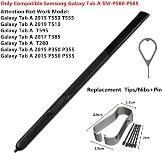 BSDTECH Stylus Touch S Pen for Samsung Galaxy Tab A 10.1 2016 SM-P580 P580 P585 (Don't Work on T580 & T585) Replacement Tips/Nibs+Eject Pin (Black)