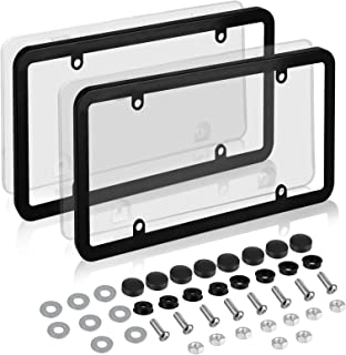 EEEKit Car License Plates Covers and Frames Combo, 2-Pack Car License Plate Frame Holder Shield for All Standard US License Plates, Screws Included (Clear)