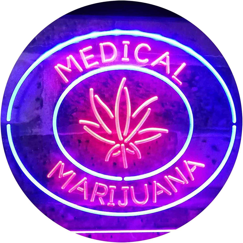 ADVPRO Medical Marijuana Hemp Leaf Sold Here Indoor Display Dual Farbe LED Barlicht Neonlicht Lichtwerbung Neon Sign Blau & rot 400mm x 300mm st6s43-i3085-br