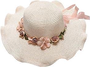 Anjetan Beach Summer Hat Flower Modern Decorative Lightweight Protective Beach Hat Sun Protection Hat Straw Hat for Girls ...
