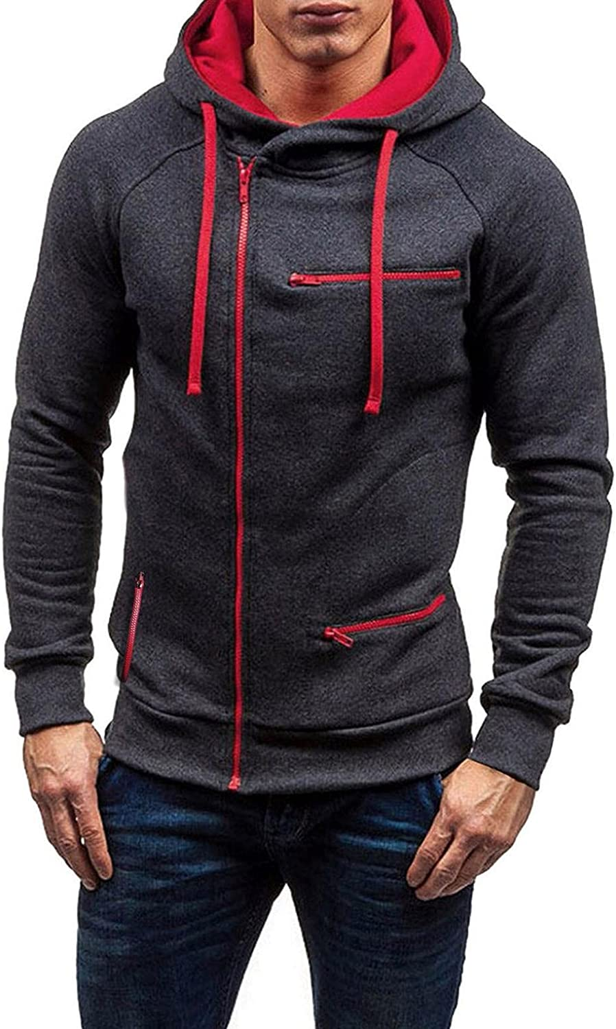 Men's Full-Zip Eco-Smart Fashion Hoodies Sweatshirts Casual Long Sleeve Zip Up Hooded Pullover Midweight Blouse Cotton