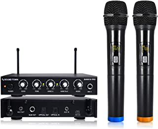 Sound Town 16 Channels Wireless Microphone Karaoke Mixer System with Optical (Toslink), AUX and 2 Handheld Microphones -- ...