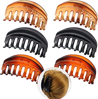 Luckycivia 6 PACK Large Plastic Hair Claw Clip, Pretty Strong Hold Hair Claw Clamp, Fashion Non-Slip Barrettes for Women Lady Girls