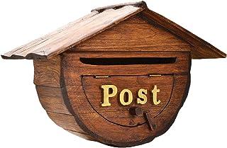 メールボックス 屋外の壁に取り付けられたメールボックス、 ミニウッドポストボックス 家の形をしたデザインで、 レトロなレターボックス ポーチ/丸太小屋/庭の装飾用