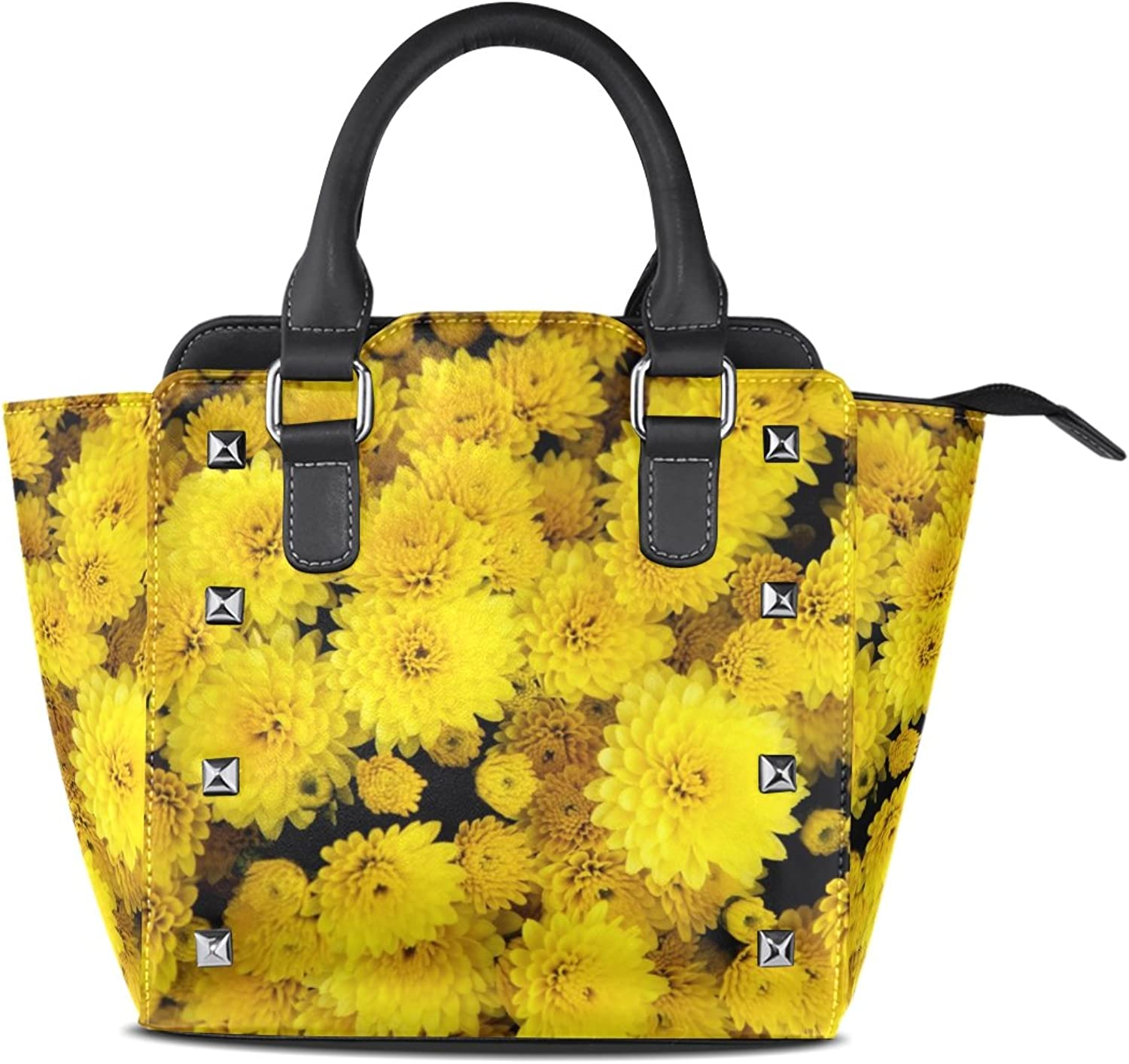 Sunlome Sunflowers Print Women's Leather Tote Shoulder Bags Handbags