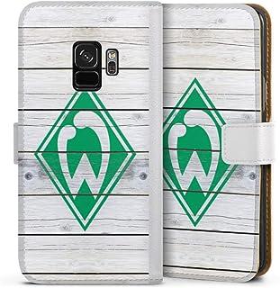 DeinDesign Klapphülle kompatibel mit Samsung Galaxy S9 Handyhülle aus Leder weiß Flip Case Offizielles Lizenzprodukt SV Werder Bremen Holzoptik