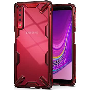Ringke Fusion-X (Ruby Red) Designed for Galaxy A7 2018 Case Cover Clear Dot PC Back with Rugged TPU Bumper Anti Rainbow Effect (Straps Access Design) for Galaxy A7 2018
