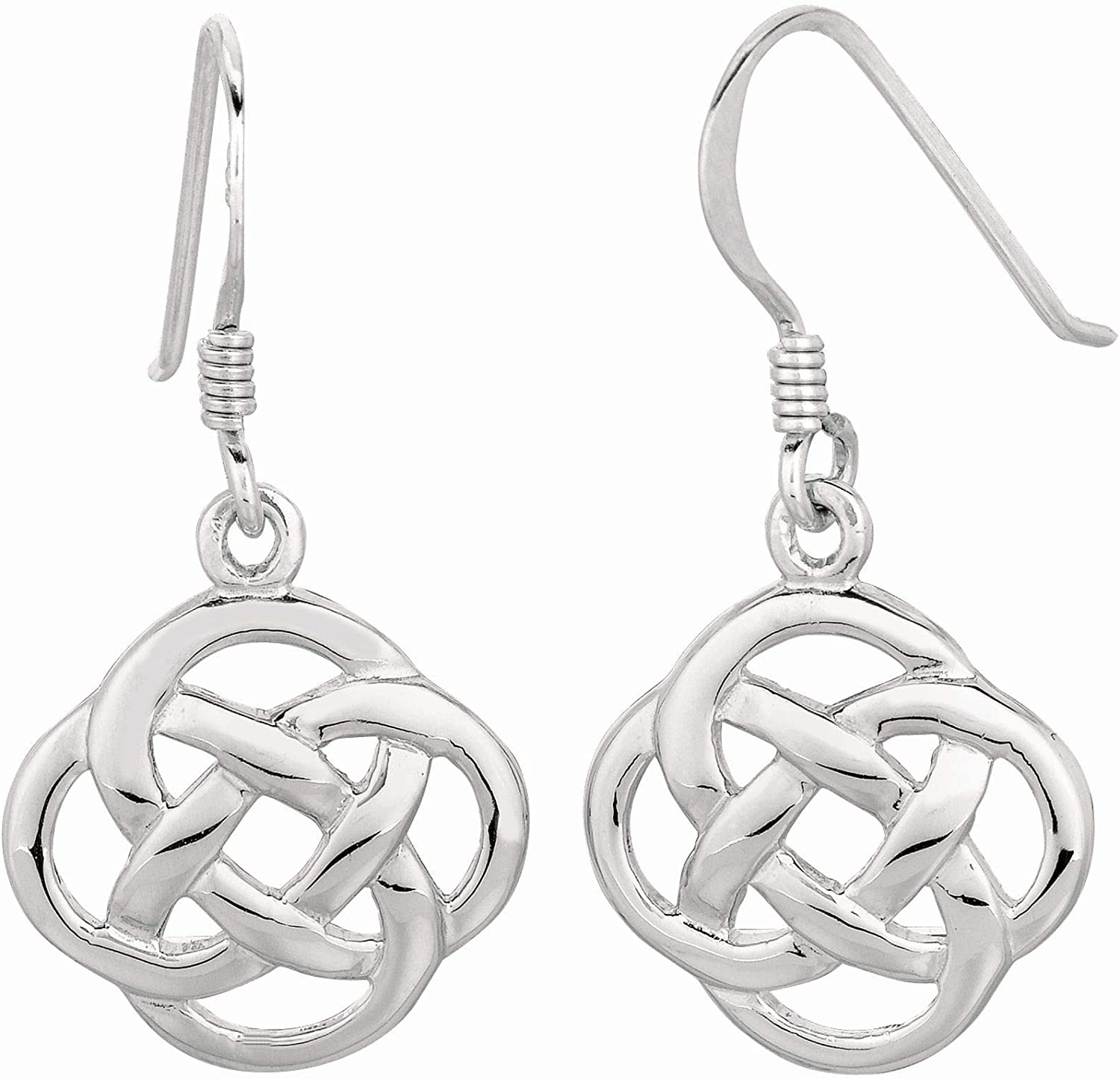 Silver Max 54% OFF with Rhodium Finish Shiny Earr Drop High material Interlock Four Circle