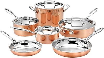 """Cuisinart 10pc Tri-Ply Cooper Cookware Set: 1qt with Cover,2.5qt with Cover,4qr Saute with Cover and Helper Hander, 8"""" and 10"""" Skillets, 8 Quart Stock Pot, 10 Piece Set, Copper"""