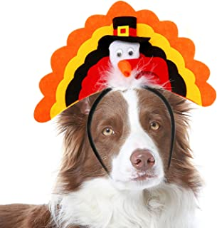 RYPET Turkey Dog Headband - Dog Thanksgiving Costume for Medium and Large Dogs