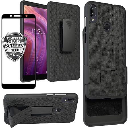 Ailiber Alcatel 3V 2019 Case Holster, Alcatel 3V Screen Protector, Swivel Belt Clip Kickstand Holder, Slim Rugged Full Body Armor Shell Protective Pouch Cover for Alcatel3V (2019) 6.7 inch - Black