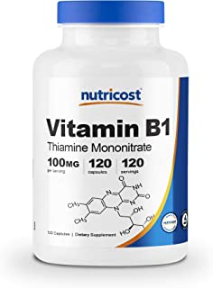 Sponsored Ad - Nutricost Vitamin B1 (Thiamine) 100mg, 120 Capsules - Gluten Free and Non-GMO