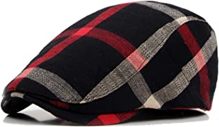 New Cotton Linen England Plaid Visors for Men Women Soft Breathable Hunting Caps Hat Classic Retro Visors