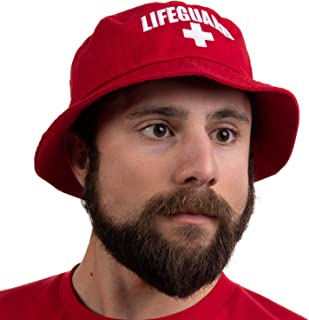 Lifeguard Bucket Hat | Professional Guard Red Sun Cap Men Women Costume Uniform - Red