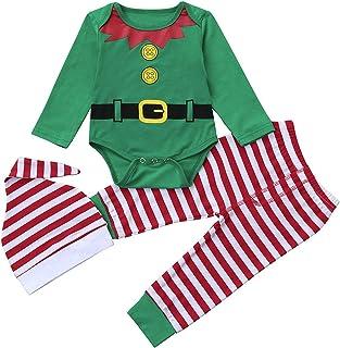 Fossen Bebe Ropa, Bebe Navidad Disfraz Duende Ropa Conjunto Recién Nacido Niña Niño Bodies Tops + Gorra + Calcetines