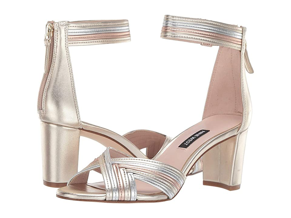 Nine West Pearl Heeled Sandal (Platino/Silver/Rose Gold) Women