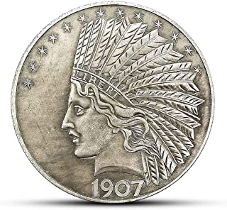 MarshLing Antique Liberty Indian Head Ten-Dollars Coin - Great American Commemorative Old Coins- Uncirculated Morgan Dollars-Discover History of US Coins Perfect Quality
