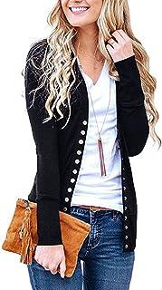 Cowear Women`s S-3XL Solid Button Front Knitwears Long Sleeve Casual Cardigans
