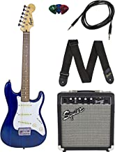 Squier by Fender Short Scale Stratocaster Pack with Frontman 10G Amp, Cable, Strap, and Picks -Blue