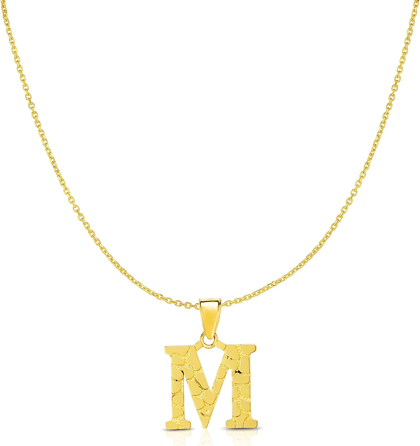 Floreo 10k Yellow Gold Nugget Initial Block Style Inventory cleanup selling sale Don't miss the campaign A Personalized