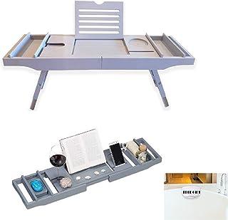 竹製バスタブキャディトレイとベッドテーブル折りたたみ式脚付き高級ノンスリップ防水バス枕 吸盤付き ワイングラスホルダー 取り外し可能なアクセサリートレイ 2個
