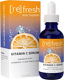 Vitamin-C Serum for Face with Hyaluronic Acid - Organic and All Natural Ferulic Acid and Vitamins B and E: Clinical Strength 20% for Ageless, Hydrated Skin by Refresh Skin Therapy